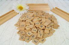 Vintage Scrabble Game Letter Tiles 2 Sets  Wooden by DivineOrders, $30.00