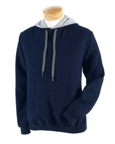 Gildan G185C Heavy Blend™ 8 oz., 50/50 Contrast Hooded Sweatshirt navy grey