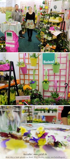 Trotz der Hürde, einen Gemeinschaftsstand aus vier verschiedenen Unternehmen auf den wenigen Quadratmeter zu präsentieren, ist es «Gartell» und Co. dank der vielen Pflanzen gelungen, sich zu positionieren und dabei ein angenehmes Gefühl beim Messebesucher zu erzeugen. Lebende Pflanzen wirken immer. Ein weiterer Kundenstopper waren die kleinen Schnittchen mit essbaren Blüten.  http://www.gartell.de  #Messedesign #Biofach #GutZuStandeGebracht #Gartell