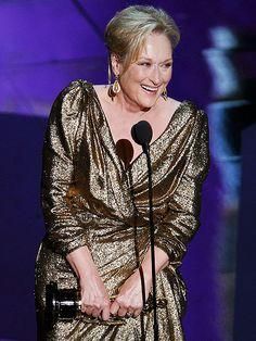 Meryl Streep, accepting her award for Best Actress. Academy Award show 2012