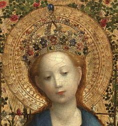 """Un dettaglio della deliziosa """"Madonna nel pergolato di rose"""" (1450) di Stephan Lochner."""