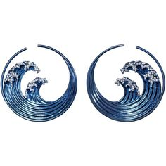 Hokusai Blue Wave Earrings ($7,900) ❤ liked on Polyvore featuring jewelry, earrings, accessories, earring jewelry, blue earrings, blue jewelry and blue color earrings