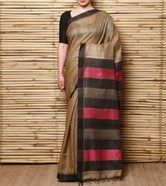 Beige & Orange Hand Woven Tussar Silk Saree