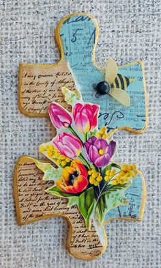 Collage Floral Altered Puzzle Piece - APC                                                                                                                                                      More