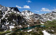 Download wallpapers mountain lake, cliffs, mountains, Asturias, Saliencia, Spain