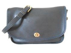 "Vintage Coach Navy Leather Cross Body Messenger Shoulder Bag 11""L x 8""H x 3""W #Coach #MessengerCrossBody"