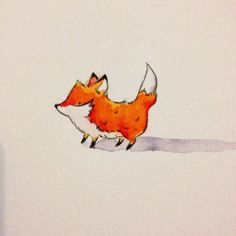 An evening stroll for little fox #fox #cute #kuretake #illustration #art #kuretakezigusa