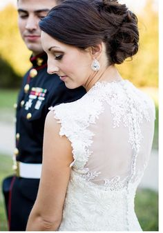 Modern wedding gowns have much more interesting backs . which makes sense, since the bride's back is turned to the audience during the ceremony! Illusions, Wedding Gowns, Weddings, Bride, Lace, Modern, How To Wear, Fashion, Homecoming Dresses Straps