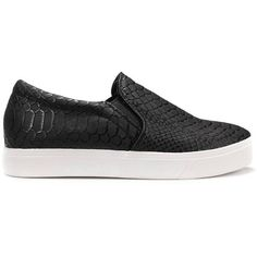 Yoins Yoins Black Snake Print Slip On Plimsolls (105 PLN) ❤ liked on Polyvore featuring shoes, sneakers, yoins, flats, chaussures, black, black round toe flats, black slip-on shoes, snake skin shoes and slip-on shoes