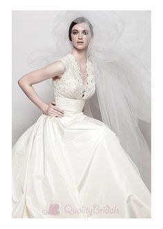Elegant Exquisite Taffeta & Lace A-line V-neck Wedding Dress W1936 - the back is awesome! I love love love!