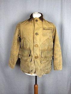 Vtg Canvas Duck Cotton Fieldmaster Sears Hunting Jacket Coat Chore WorkWear Work   eBay