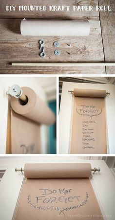 Keep grocery lists and menus readily available with a DIY mounted kraft paper roll.