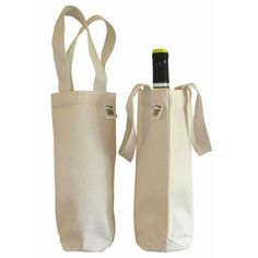 ECOBAGS Canvas Wine Bag (1 bottle) 6.5x12 Recycled Cotton (1 Bag)