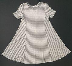 Lush Dress M Gray Black Stripes Flare A-line Casual Comfy Semi Sheer Boho #Lush #ALineDress #Casual