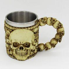 Halloween Double Wall Stainless Steel with Handle Resin Skull Mug