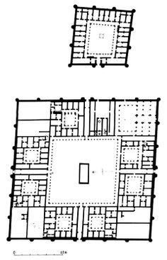 Plano del Castillo de Qsar al-Hayr al-Sharqui también denominado Castillo del este o Palacio al-Heer del este. Siria. El palacio consta de un gran patio abierto, rodeado por gruesos baluartes y torres de vigilancia en las entradas, así como en cada esquina. El palacio consta de dos estructuras cuadradas, una con un diámetro de 300 metros y la otra de 100 metros.  -Dinastía Omeya.