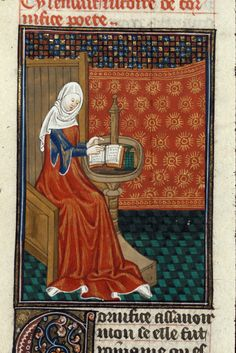 Cornificia with a book on her desk, by the Talbot Master, c. 1440 (northern France - Rouen). Detail from Boccacio, de mulieribus claris/Le livre de femmes nobles et renomées (trad. anonyme). British Library, Royal 16 G V, fol. 99