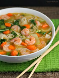 Asian Rice Noodle Soup with Shrimp with Sesame Oil Baby Bok Choy Large Carrots Garlic Fresh Ginger Vegetable Broth Water Gluten Free Soy Sauce Fish Sauce Rice Vinegar Rice Noodles Shrimp Green Onions. Shrimp Recipes, Soup Recipes, Dinner Recipes, Cooking Recipes, Wonton Recipes, Rice Noodle Recipes, Rice Noodle Soups, Asian Recipes, Cooking Tips