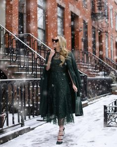 "14 Likes, 1 Comments - Lela Rose (@lelarose) on Instagram: ""Having a New York moment in Look 2 from #10hoursoffashion on @blaireadiebee A forest green metallic…"""