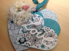 MDF 'love' heart using crackle medium and Leonie mask