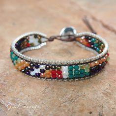 Mix Single Wrap bracelet with Chain on brown cotton cord, layer bracelet, beadwork bracelet Beaded Wrap Bracelets, Bohemian Bracelets, Layered Bracelets, Seed Bead Bracelets, Boho Jewelry, Beaded Jewelry, Handmade Jewelry, Stackable Bracelets, Pearl Bracelets