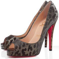Christian Louboutin Very Prive Peep Toe Pumps 120mm Lame Gold