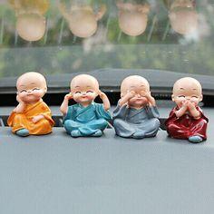 Four little monk Buddha Kung Fu lovely car decoration car accessories FH Baby Buddha, Little Buddha, Buddha Zen, Gautama Buddha, Office Ornaments, Cute Gifts For Friends, Three Wise Monkeys, Cute Cartoon Wallpapers, Cute Dolls