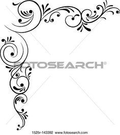 Clipart di Elemento per il disegno, fiore d'angolo, vettore 1525R-143.392 - Cerca clipart, illustrazioni Poster, disegni e immagini grafiche vettoriali EPS - 1525R-143392.eps