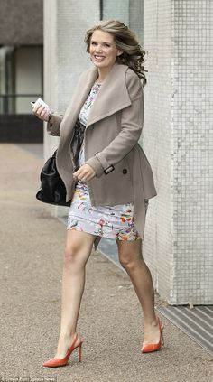 Colour co-ordinating: Charlotte Hawkins leaves ITV Studios on Friday morning, matching her. Coral Shoes, Charlotte Hawkins, Charlotte Mckinney, Cute Girl Dresses, Tv Presenters, Great Legs, Classic Chic, Sexy High Heels, Sexy Legs
