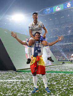 Marco Asensio and Alvaro Morata of Real Madrid celebrate their UEFA...