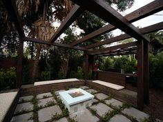 Intersting thought to have a firepit in a gazebo or under a pergola - 20 Backyard Fire Pit Design Ideas on HGTV