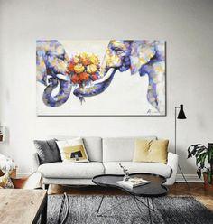 Nordic Elephant Love Unframed Modern Wall Canvas | Octo Treasure