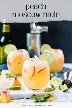 Boozy and sweet Peach Mule made with an extra pour of schnapps, muddled peaches, and topped with a floater of Grand Marnier. Best Cocktail Recipes, Easy Drink Recipes, Alcohol Drink Recipes, Punch Recipes, Shot Recipes, Cooking Recipes, Fun Cocktails, Summer Drinks, Cocktail Drinks