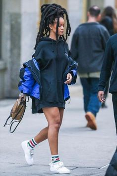 Rihanna wearing Balenciaga Oversized shell parka, Vetements Black Hooded Sweatshirt, Gucci Bow Little William Socks, Maison Margiela Oversized-Buckle Patent Leather Sneakers, Louis Vuitton Palm Springs Mini Backpack Mode Rihanna, Rihanna Style, Rihanna Fenty, Rhianna Fashion, Style Outfits, Mode Outfits, Casual Outfits, Fashion Outfits, Womens Fashion