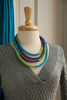 Cool Colors Knit Cord Necklace - I-cord - Long Loop - Toddler Friendly. $35.00, via Etsy.