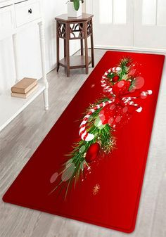 Christmas Candy Cane Pattern Indoor Outdoor Area Rug