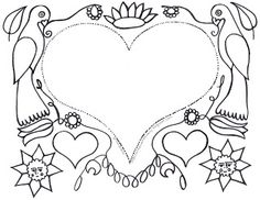 Art Education Daily: German Fraktur Clip Art Coloring page. Goes with Sonlight Core D book Skippack School.