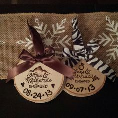 Personalized Burnt Birch Ornaments by JohnaJDesigns on Etsy, $20.00 Birch, All Things, Custom Design, Marriage, Reusable Tote Bags, Engagement, Ornaments, Handmade, Crafts