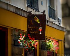 "Paris Photography - paris wine shop st germain des pres paris gold red paris photography 8x10 paris photo foyer decor ""Last Drop"" by LynnLangmade on Etsy"