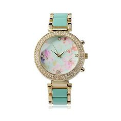 Women's Geneva Platinum Rhinestone Floral Print Face Link Band Watch ($30) ❤ liked on Polyvore featuring jewelry, watches, mint, geneva watches, floral watches, platinum watches, floral jewelry and mint jewelry