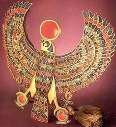 Tut Exhibit - King Tutankhamun Exhibit, Collection: Jewelry - Falcon Pectoral representing King Tutankhamun