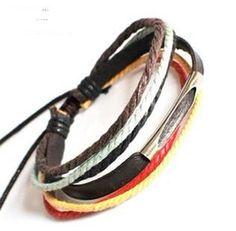 punk bracelet  rock bracelet  jewelry bangle Bracelet Cuff made of real Leather and cotton ropes ,SH-01019014. $6.00, via Etsy.