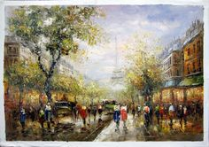 "24"" by 36"" - Paris scene - Nr.44 - Museum Quality Oil Painting on Canvas Art by Artseasy"