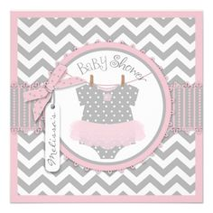 Pink Tutu and Chevron Print Baby Shower SQ-PKGY Personalized Invites