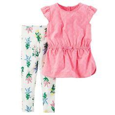 Toddler Girl Carter's Eyelet Flutter Sleeve Top & Floral Leggings Set, Size: 2T, Pink