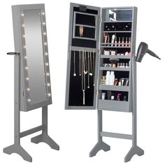 Features:  -High quality painted MDF with black velvet interior lining.  -Stylish floor standing make up and jewelry cabinet keep your jewelry and cosmetics safe, organized and easily accessible.  -Ho