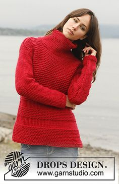 Lighthouse - Jumper in garter st with high collar in Eskimo