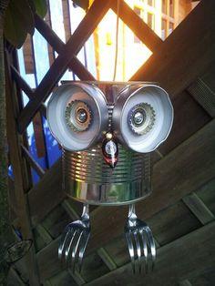 Tin can Tin can-Boite de conserve Boite de conserve Tin can Tin can - Aluminum Can Crafts, Tin Can Crafts, Owl Crafts, Metal Garden Art, Metal Art, Garden Crafts, Garden Projects, Garden Ideas, Tin Can Art