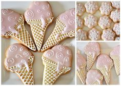 My little bakery :): Pink Ice Cream & Embroidery flower cookies
