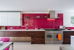 Latest pink kitchen design interior for home